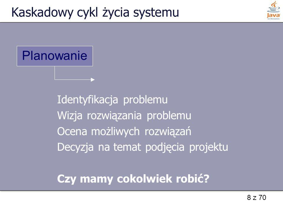 8 z 70 Kaskadowy cykl życia systemu Identyfikacja problemu Wizja rozwiązania problemu Ocena możliwych rozwiązań Decyzja na temat podjęcia projektu Czy