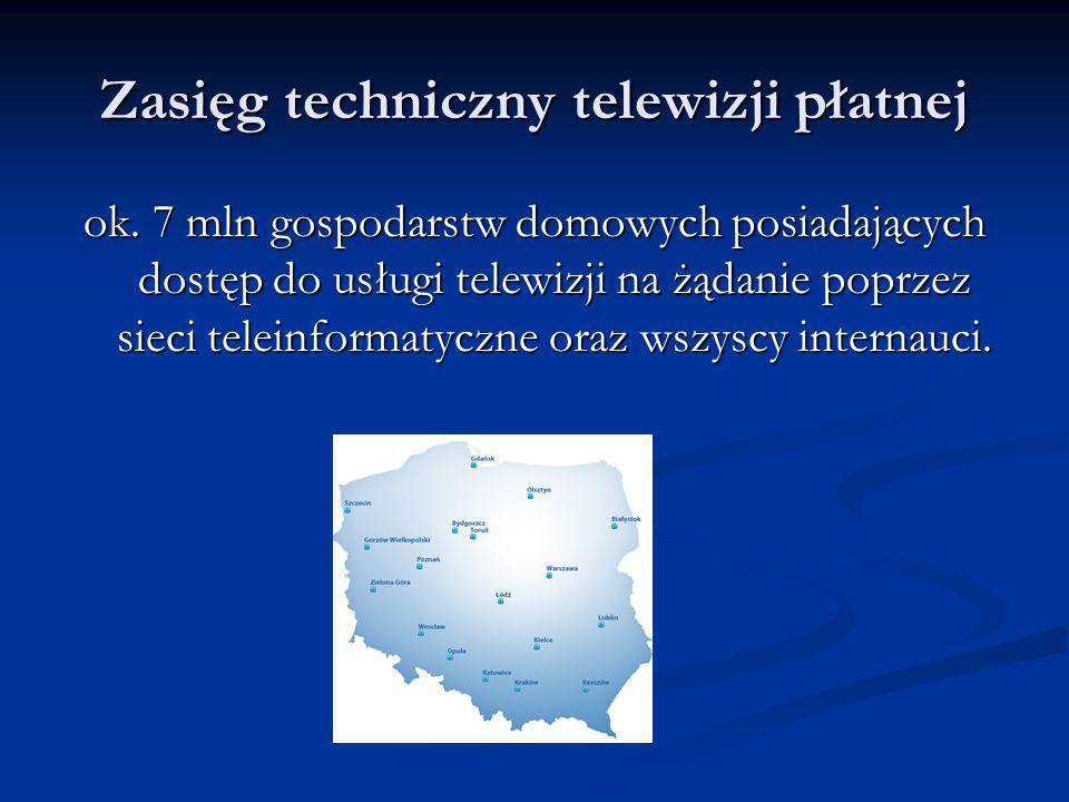 Zasięg techniczny telewizji płatnej ok.