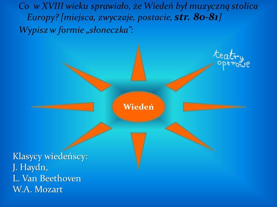"""Co w XVIII wieku sprawiało, że Wiedeń był muzyczną stolica Europy? [miejsca, zwyczaje, postacie, str. 80-81 ] Wypisz w formie """"słoneczka"""": Wiedeń Klas"""