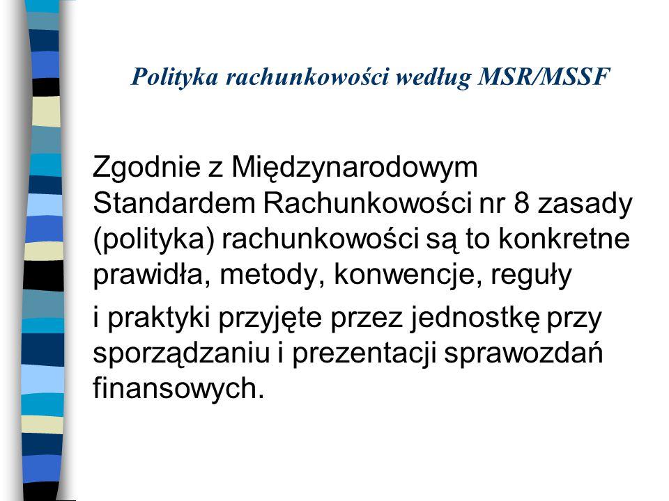 Polityka rachunkowości według MSR/MSSF Zgodnie z Międzynarodowym Standardem Rachunkowości nr 8 zasady (polityka) rachunkowości są to konkretne prawidł