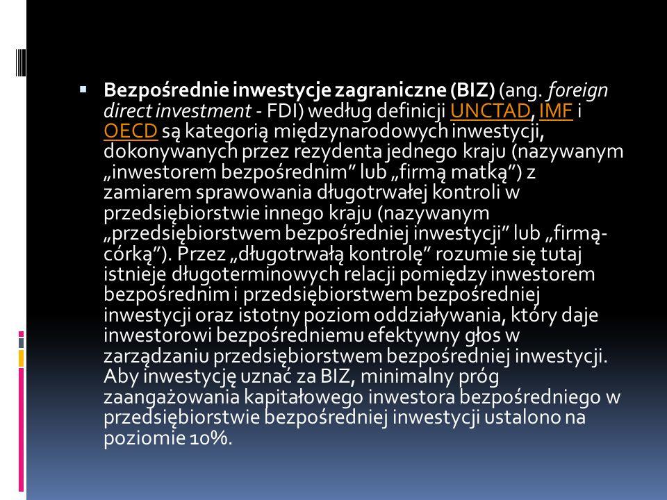  Bezpośrednie inwestycje zagraniczne (BIZ) (ang. foreign direct investment - FDI) według definicji UNCTAD, IMF i OECD są kategorią międzynarodowych i