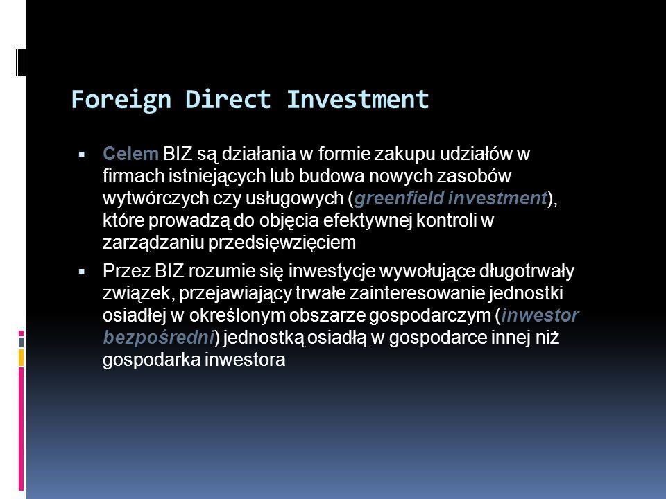 Foreign Direct Investment  Celem BIZ są działania w formie zakupu udziałów w firmach istniejących lub budowa nowych zasobów wytwórczych czy usługowyc