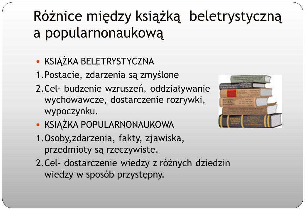 Przykłady literackiego i popularnonaukowego ujęcia tego samego tematu TEMAT: Psy KSIĄŻKA BELETRYSTYCZNA Pisarski R., O psie,który jeździł koleją KSIĄŻKA POPULARNONAUKOWA Boczula A., Łukaszewska P., Dobre psy