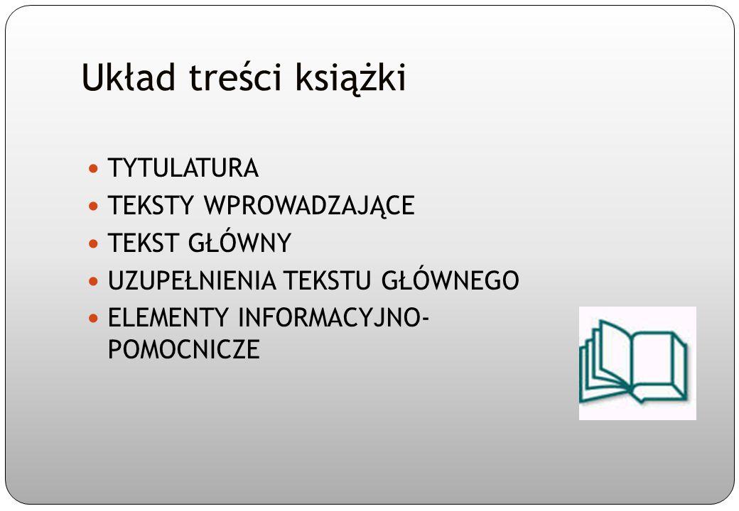 Tytulatura książki AUTORSTWO - autor - współtwórcy książki TYTUŁ, DODATEK DO TYTUŁU ( np.