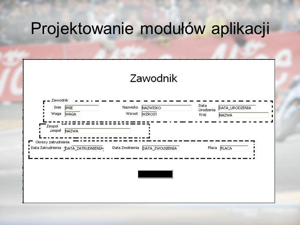 Projektowanie modułów aplikacji