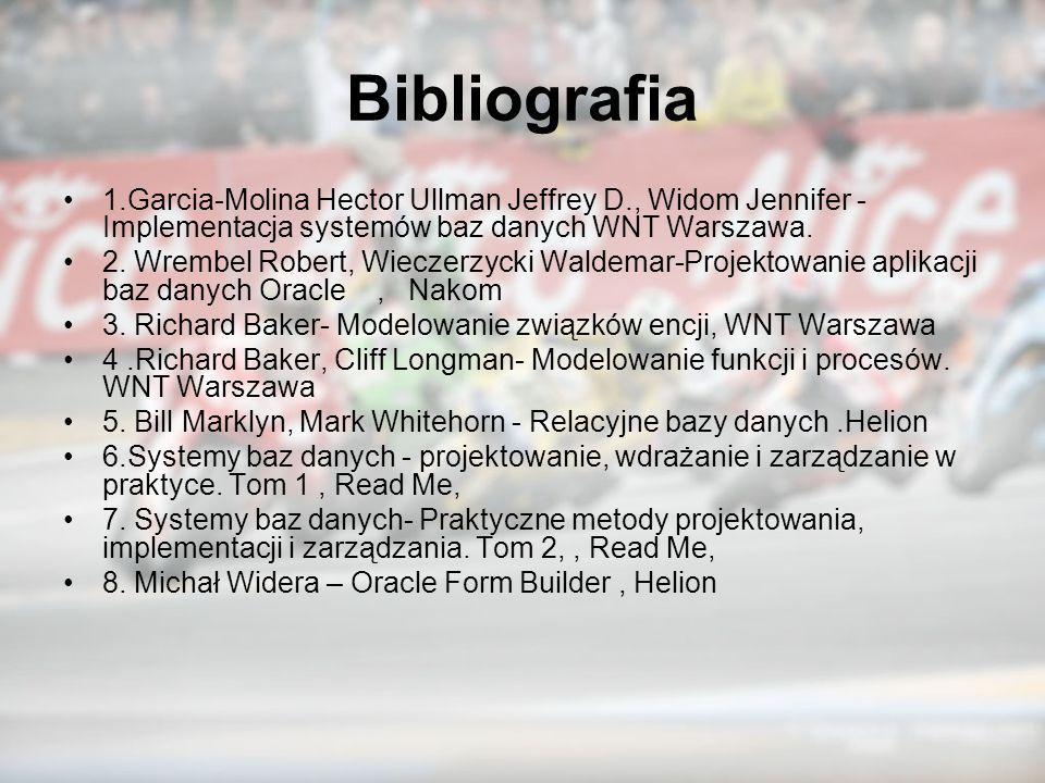 Bibliografia 1.Garcia-Molina Hector Ullman Jeffrey D., Widom Jennifer - Implementacja systemów baz danych WNT Warszawa. 2. Wrembel Robert, Wieczerzyck
