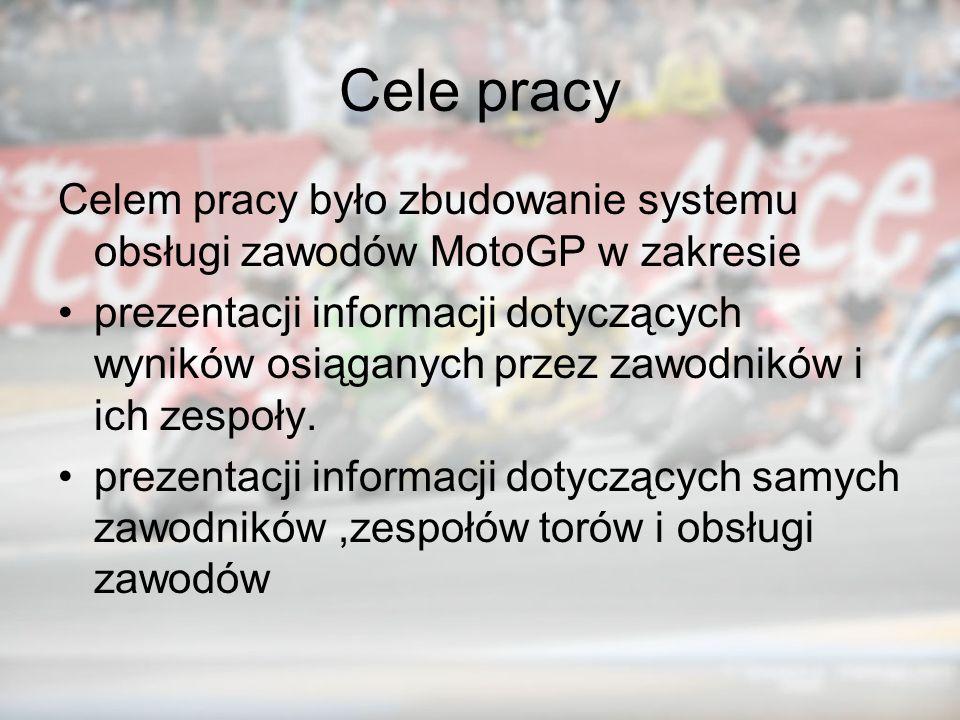 Cele pracy Celem pracy było zbudowanie systemu obsługi zawodów MotoGP w zakresie prezentacji informacji dotyczących wyników osiąganych przez zawodnikó