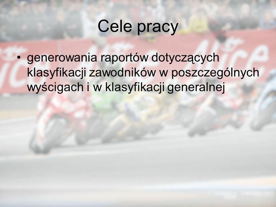 Cele pracy generowania raportów dotyczących klasyfikacji zawodników w poszczególnych wyścigach i w klasyfikacji generalnej