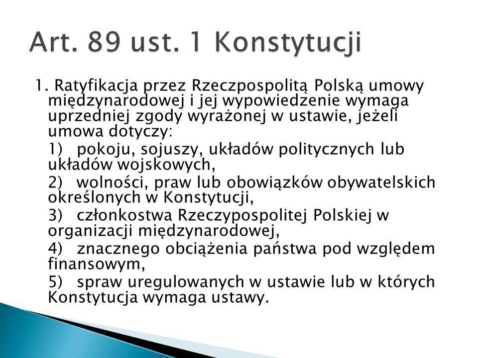 1. Ratyfikacja przez Rzeczpospolitą Polską umowy międzynarodowej i jej wypowiedzenie wymaga uprzedniej zgody wyrażonej w ustawie, jeżeli umowa dotyczy