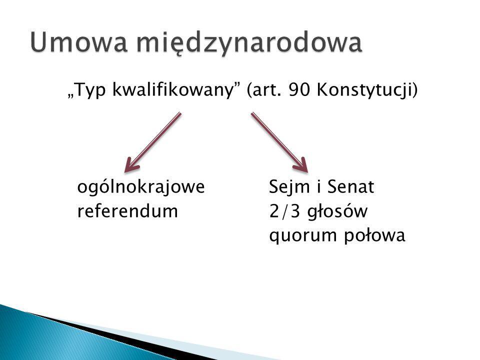 """""""Typ kwalifikowany"""" (art. 90 Konstytucji) ogólnokrajoweSejm i Senat referendum2/3 głosów quorum połowa"""
