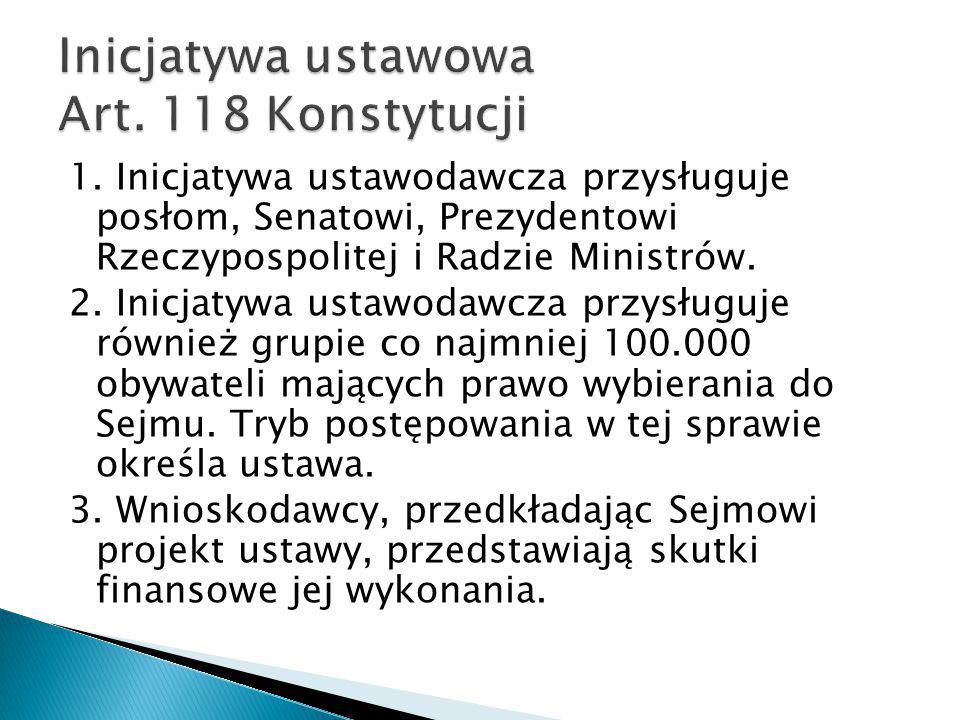 1. Inicjatywa ustawodawcza przysługuje posłom, Senatowi, Prezydentowi Rzeczypospolitej i Radzie Ministrów. 2. Inicjatywa ustawodawcza przysługuje równ