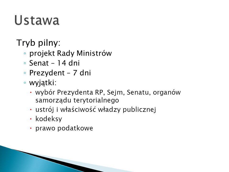 Tryb pilny: ◦ projekt Rady Ministrów ◦ Senat – 14 dni ◦ Prezydent – 7 dni ◦ wyjątki:  wybór Prezydenta RP, Sejm, Senatu, organów samorządu terytorial