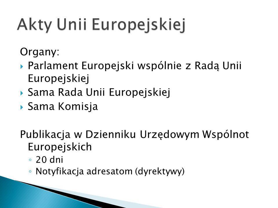 Organy:  Parlament Europejski wspólnie z Radą Unii Europejskiej  Sama Rada Unii Europejskiej  Sama Komisja Publikacja w Dzienniku Urzędowym Wspólno