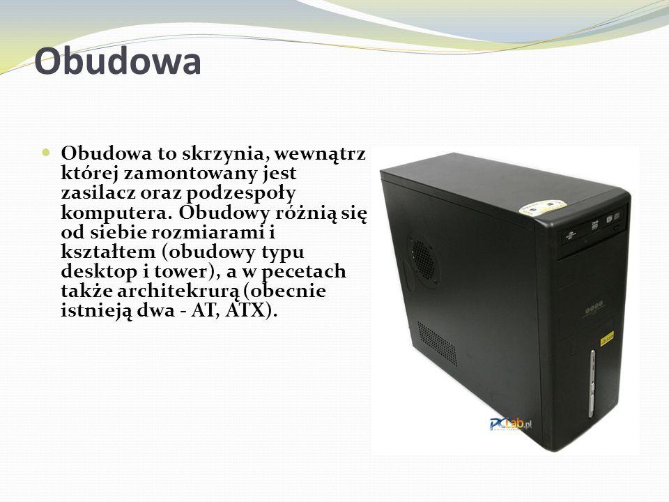 Obudowa Obudowa to skrzynia, wewnątrz której zamontowany jest zasilacz oraz podzespoły komputera. Obudowy różnią się od siebie rozmiarami i kształtem