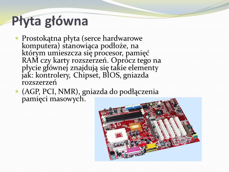 Płyta główna Prostokątna płyta (serce hardwarowe komputera) stanowiąca podłoże, na którym umieszcza się procesor, pamięć RAM czy karty rozszerzeń. Opr