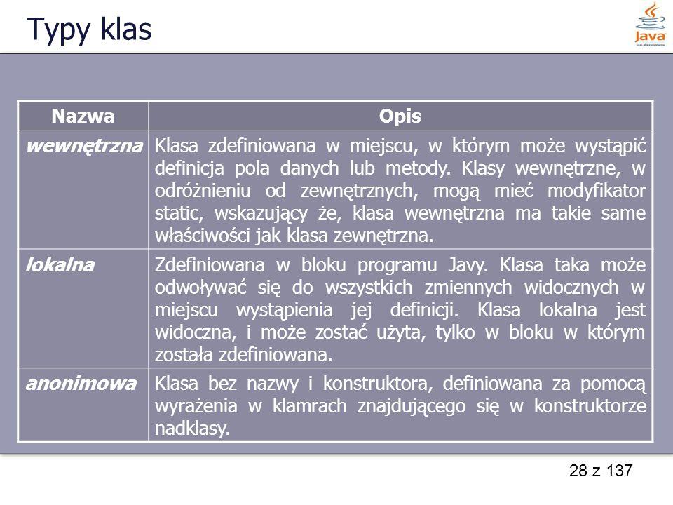 28 z 137 Typy klas NazwaOpis wewnętrznaKlasa zdefiniowana w miejscu, w którym może wystąpić definicja pola danych lub metody. Klasy wewnętrzne, w odró