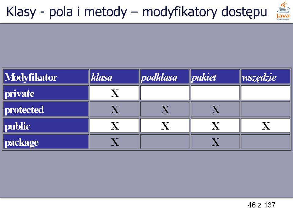 46 z 137 Klasy - pola i metody – modyfikatory dostępu