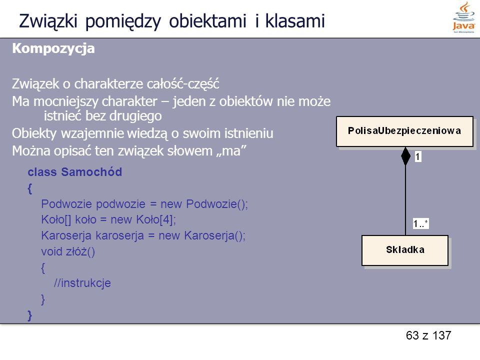 63 z 137 Związki pomiędzy obiektami i klasami Kompozycja Związek o charakterze całość-część Ma mocniejszy charakter – jeden z obiektów nie może istnie