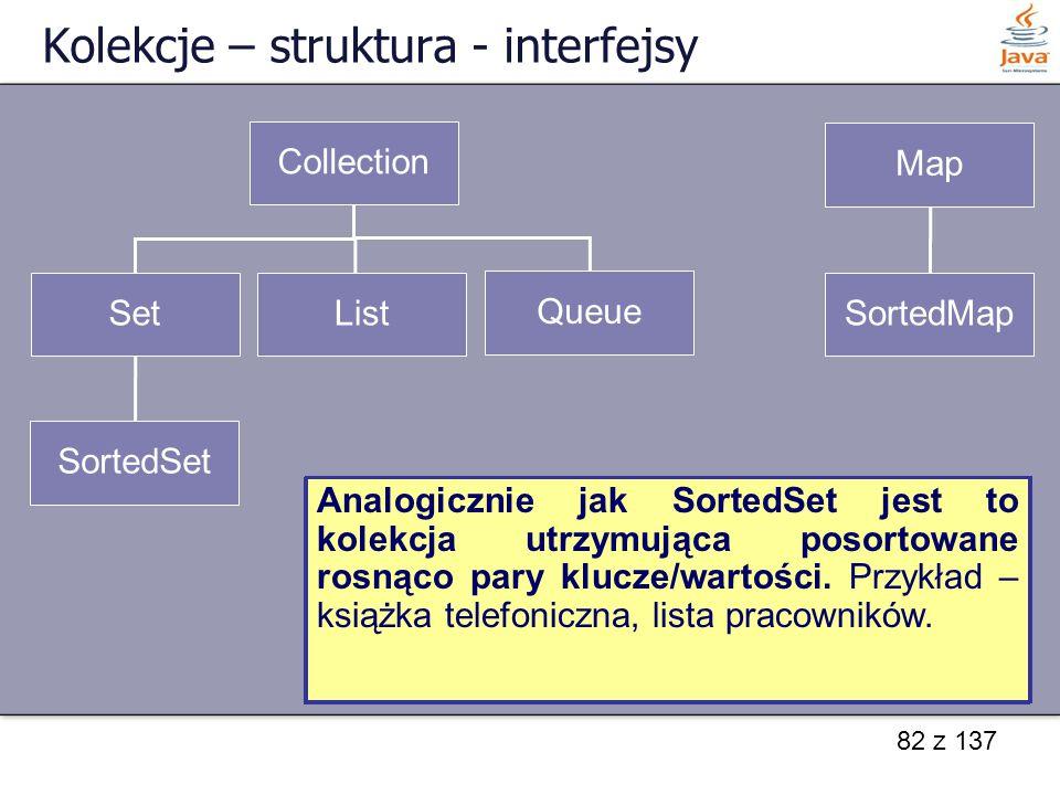 82 z 137 Kolekcje – struktura - interfejsy Collection Set SortedSet List Queue Map SortedMap Interfejs Collection reprezentuje grupę obiektów nazywany