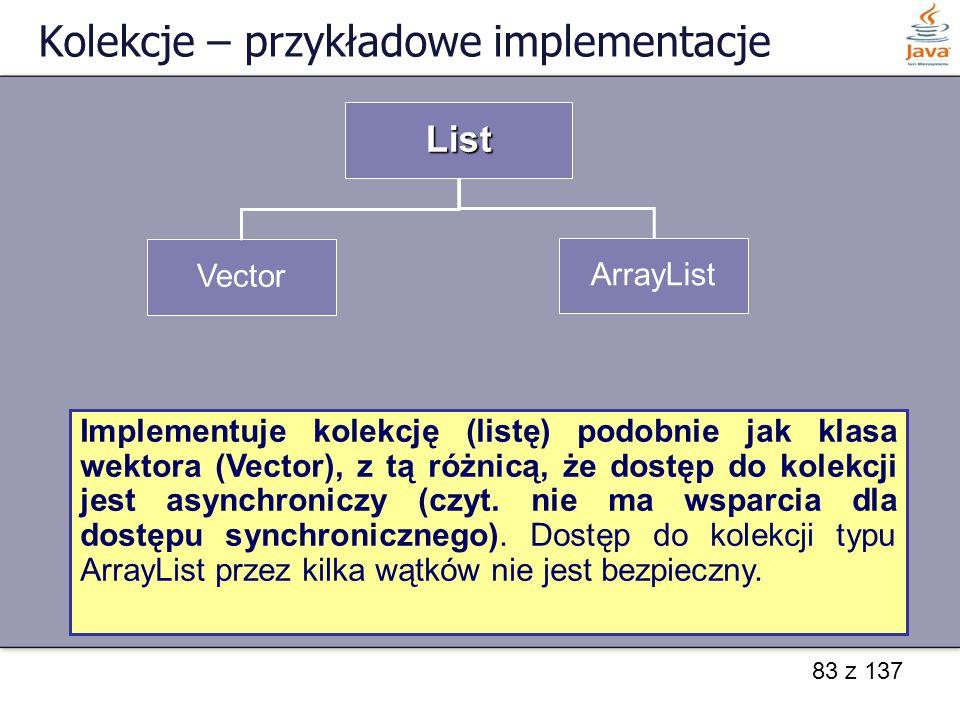 83 z 137 Kolekcje – przykładowe implementacje List Vector ArrayList Implementuje kolekcję (listę) jako tablicę automatycznie dopasowującą swoją wielko