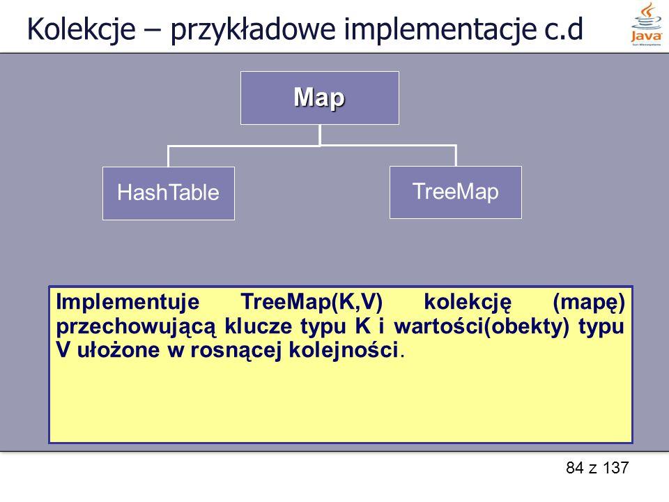 84 z 137 Kolekcje – przykładowe implementacje c.d Map HashTable TreeMap HashTable implementuje mapę z kluczami typu k i wartościami typu V. Klasa defi