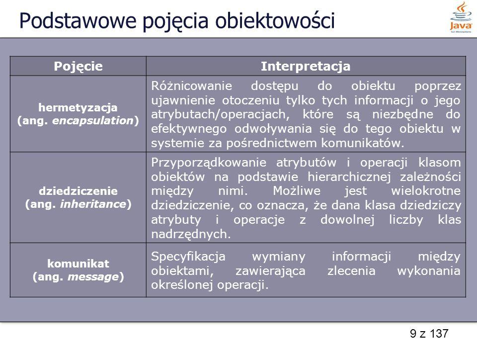 9 z 137 Podstawowe pojęcia obiektowości PojęcieInterpretacja hermetyzacja (ang. encapsulation) Różnicowanie dostępu do obiektu poprzez ujawnienie otoc
