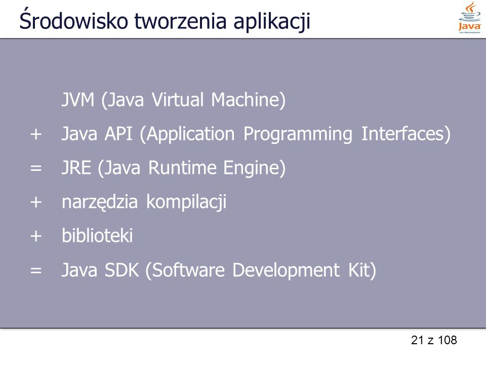 21 z 108 Środowisko tworzenia aplikacji JVM (Java Virtual Machine) +Java API (Application Programming Interfaces) =JRE (Java Runtime Engine) +narzędzi
