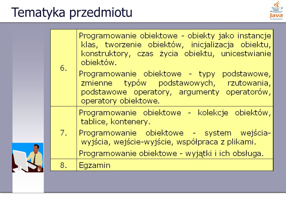98 z 108 Pętla for - przykład class Studenci { public static void main(String args[]) { for (int minuta = 195; minuta < 1; minuta--) { if (minuta > 15) System.out.println( Pozostało jeszcze + minuta + minut wykładu :-( ); else System.out.println( Pozostało jeszcze + minuta + minut wykładu :-) ); }