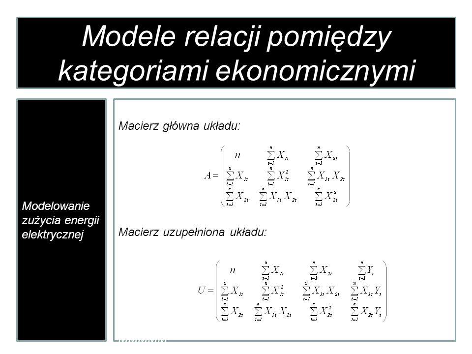 Modele relacji pomiędzy kategoriami ekonomicznymi Modelowanie zużycia energii elektrycznej Macierz główna układu: Macierz uzupełniona układu: MMMMM