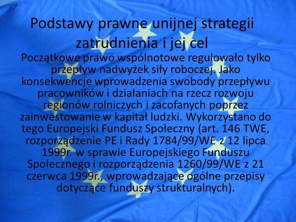 Podstawy prawne unijnej strategii zatrudnienia i jej cel Przyjęcie polityki zatrudnienia do kompetencji UE nastąpiło w TA.