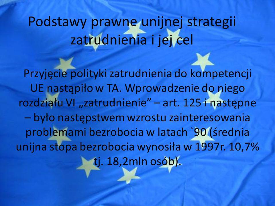 Podstawy prawne unijnej strategii zatrudnienia i jej cel Cel unijnej strategii to, w szczególności, promocja wykształconej, o wysokich umiejętnościach, zdolnej do dostosowania siły roboczej oraz opowiedzenie się za rynkami pracy, reagującymi na zmiany gospodarcze (art.
