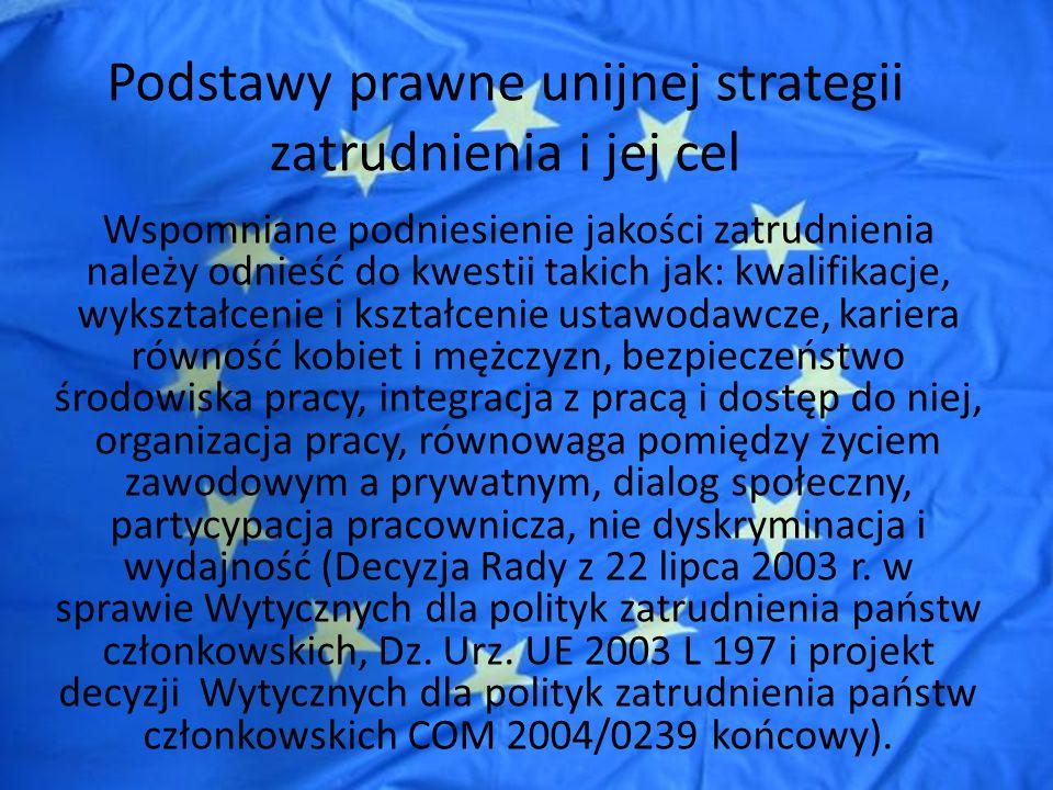 Środki realizacji unijnej strategii zatrudnienia Państwa członkowskie mają obowiązek uwzględnienia Wytycznych w sprawie zatrudnienia w swoich politykach zatrudnienia (art.