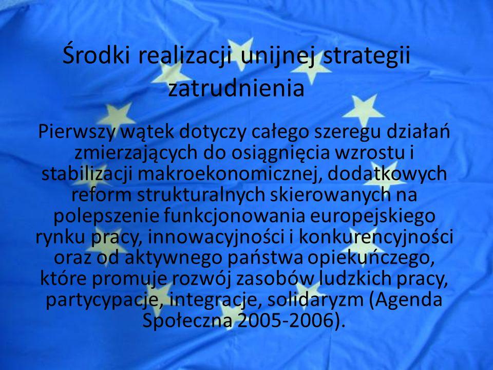 Środki realizacji unijnej strategii zatrudnienia Aby ww.