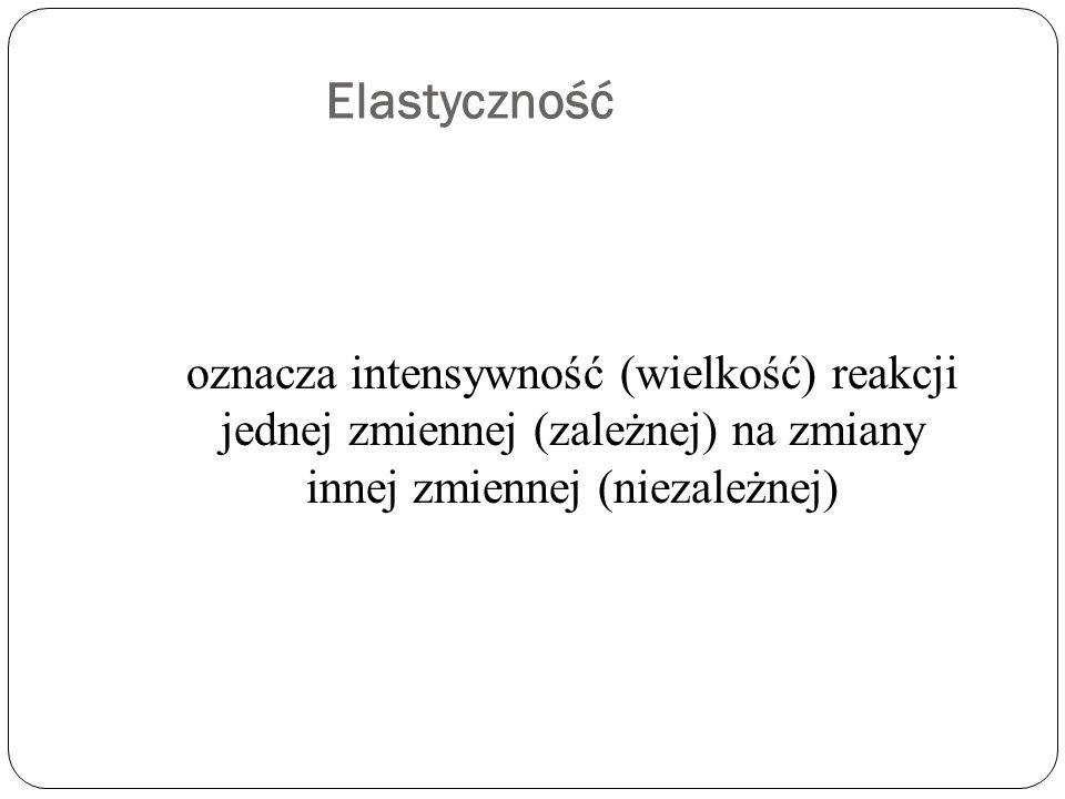 Elastyczność oznacza intensywność (wielkość) reakcji jednej zmiennej (zależnej) na zmiany innej zmiennej (niezależnej)