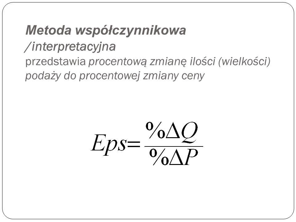 Wskaźnik cenowej elastyczności podaży możemy liczyć trzema metodami : Metod ą współczynnikow ą (interpretacyjną) Metod ą punktow ą Metod ą łukow ą
