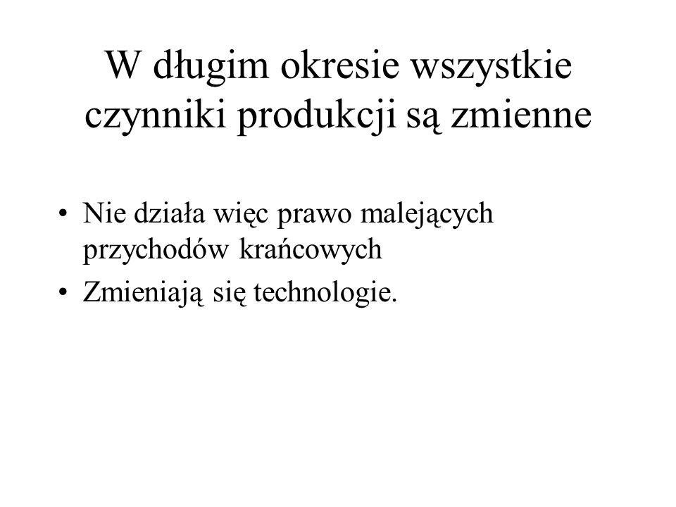 W długim okresie wszystkie czynniki produkcji są zmienne Nie działa więc prawo malejących przychodów krańcowych Zmieniają się technologie.