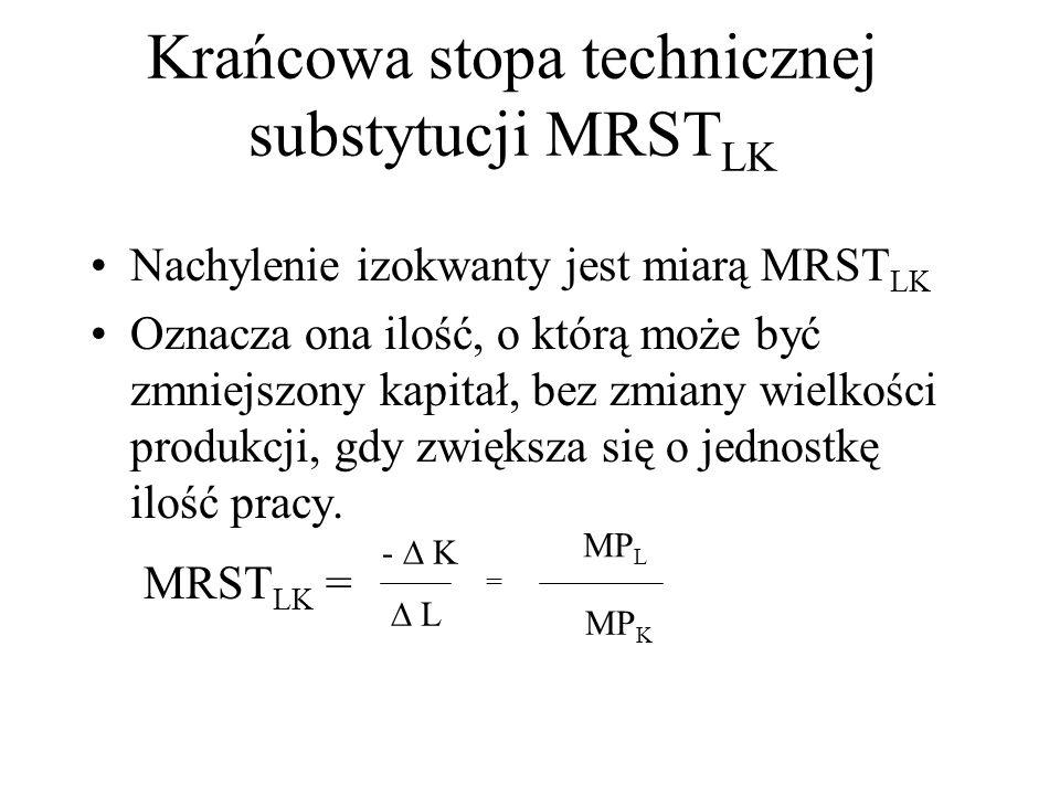 Krańcowa stopa technicznej substytucji MRST LK Nachylenie izokwanty jest miarą MRST LK Oznacza ona ilość, o którą może być zmniejszony kapitał, bez zmiany wielkości produkcji, gdy zwiększa się o jednostkę ilość pracy.