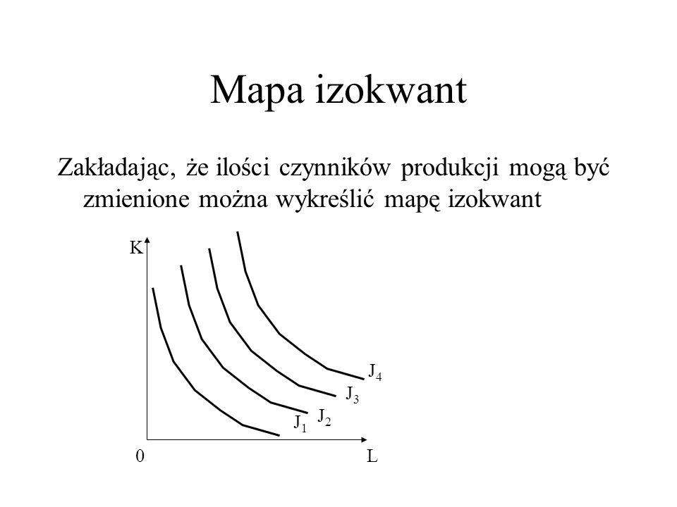 Mapa izokwant Zakładając, że ilości czynników produkcji mogą być zmienione można wykreślić mapę izokwant 0 K L J1J1 J4J4 J3J3 J2J2