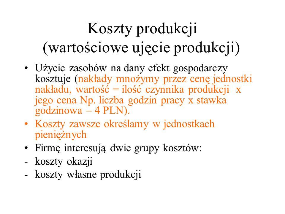 Koszty produkcji (wartościowe ujęcie produkcji) Użycie zasobów na dany efekt gospodarczy kosztuje (nakłady mnożymy przez cenę jednostki nakładu, wartość = ilość czynnika produkcji x jego cena Np.