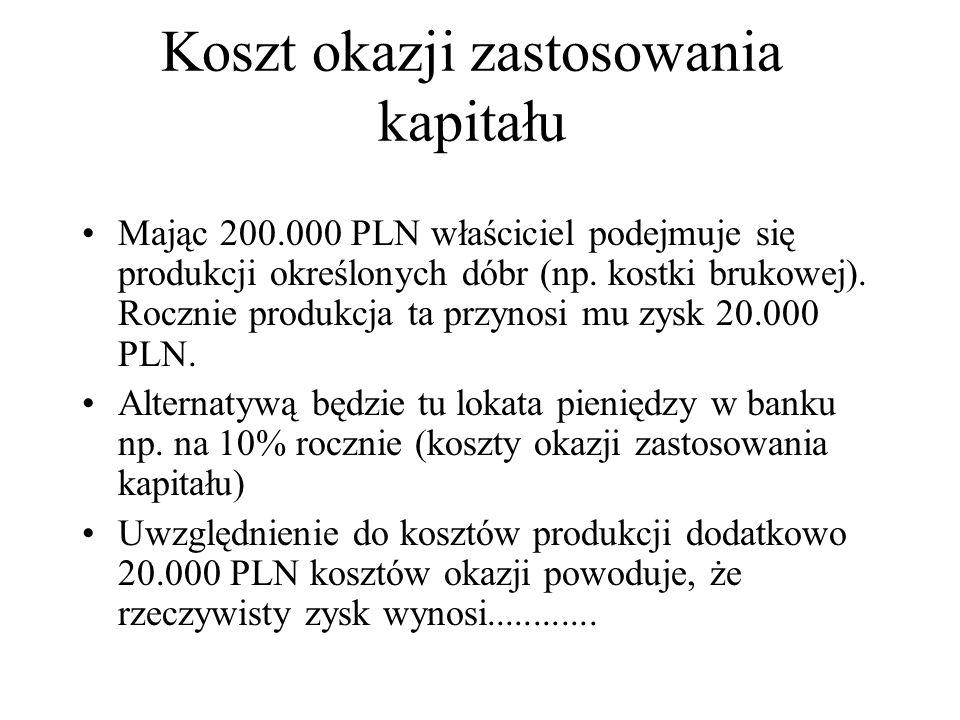 Koszt okazji zastosowania kapitału Mając 200.000 PLN właściciel podejmuje się produkcji określonych dóbr (np.
