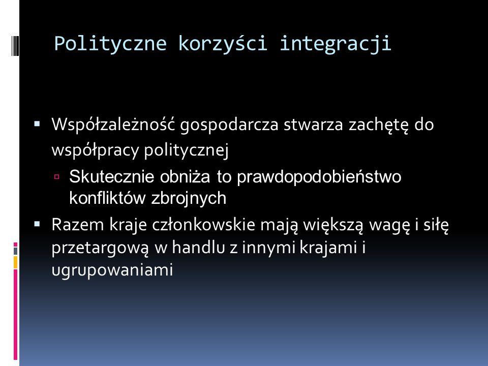 Polityczne korzyści integracji  Współzależność gospodarcza stwarza zachętę do współpracy politycznej  Skutecznie obniża to prawdopodobieństwo konfliktów zbrojnych  Razem kraje członkowskie mają większą wagę i siłę przetargową w handlu z innymi krajami i ugrupowaniami