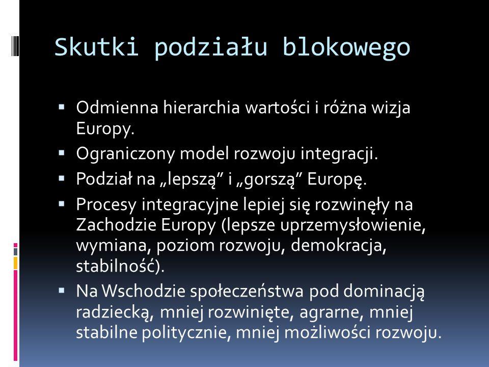Skutki podziału blokowego  Odmienna hierarchia wartości i różna wizja Europy.