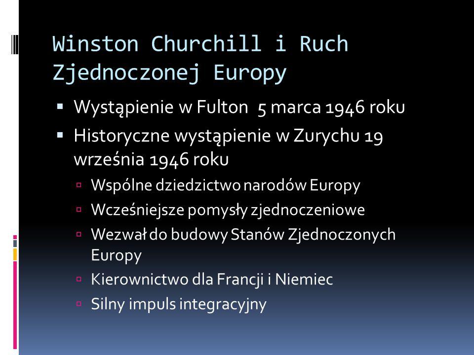 Winston Churchill i Ruch Zjednoczonej Europy  Wystąpienie w Fulton 5 marca 1946 roku  Historyczne wystąpienie w Zurychu 19 września 1946 roku  Wspólne dziedzictwo narodów Europy  Wcześniejsze pomysły zjednoczeniowe  Wezwał do budowy Stanów Zjednoczonych Europy  Kierownictwo dla Francji i Niemiec  Silny impuls integracyjny