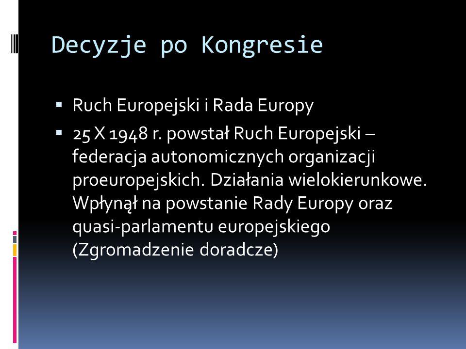 Decyzje po Kongresie  Ruch Europejski i Rada Europy  25 X 1948 r.