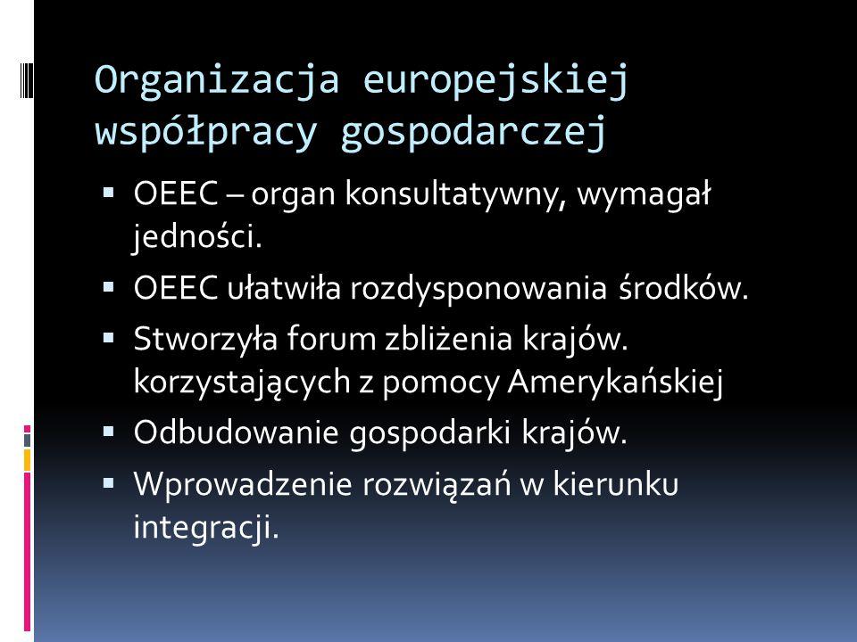 Organizacja europejskiej współpracy gospodarczej  OEEC – organ konsultatywny, wymagał jedności.