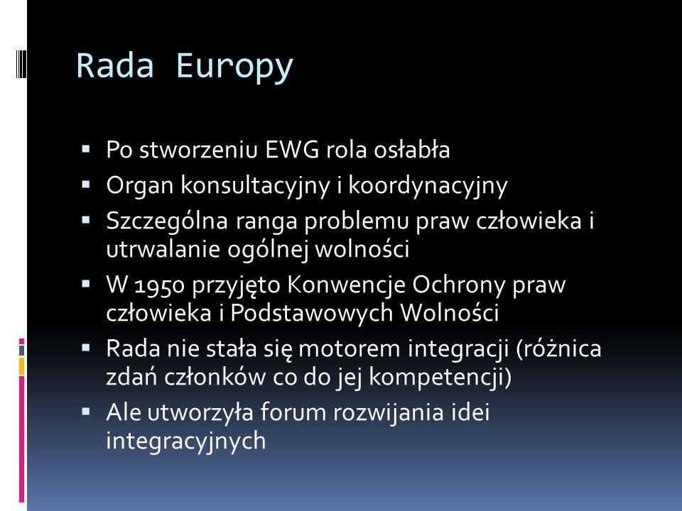 Rada Europy  Po stworzeniu EWG rola osłabła  Organ konsultacyjny i koordynacyjny  Szczególna ranga problemu praw człowieka i utrwalanie ogólnej wolności  W 1950 przyjęto Konwencje Ochrony praw człowieka i Podstawowych Wolności  Rada nie stała się motorem integracji (różnica zdań członków co do jej kompetencji)  Ale utworzyła forum rozwijania idei integracyjnych