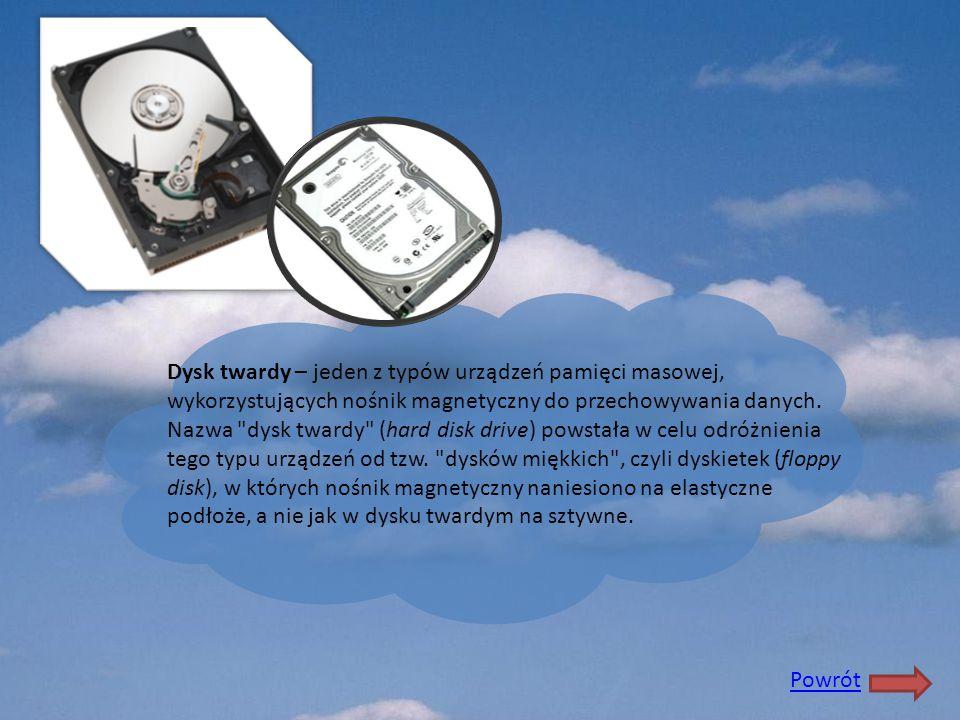 Dysk twardy – jeden z typów urządzeń pamięci masowej, wykorzystujących nośnik magnetyczny do przechowywania danych. Nazwa