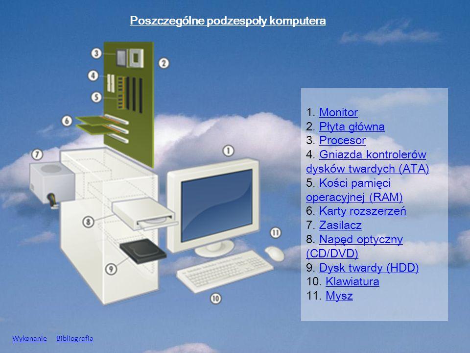 1. MonitorMonitor 2. Płyta głównaPłyta główna 3. ProcesorProcesor 4. Gniazda kontrolerów dysków twardych (ATA)Gniazda kontrolerów dysków twardych (ATA