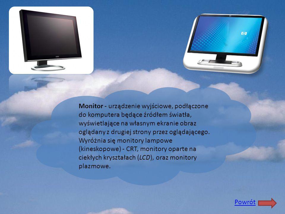 Monitor - urządzenie wyjściowe, podłączone do komputera będące źródłem światła, wyświetlające na własnym ekranie obraz oglądany z drugiej strony przez