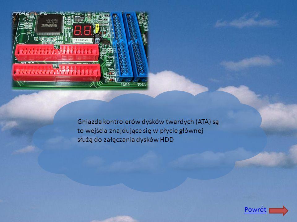 Gniazda kontrolerów dysków twardych (ATA) są to wejścia znajdujące się w płycie głównej służą do załączania dysków HDD Powrót